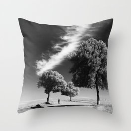 Cloud trees man Throw Pillow