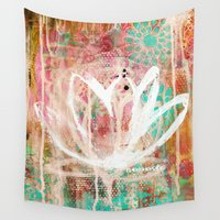 namaste Wall Tapestries featuring namaste by SannArt