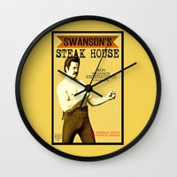 parks and recreation Wall Clocks featuring Ron Swanson  |  Steak House Parody |  Parks and Recreation by Silvio Ledbetter