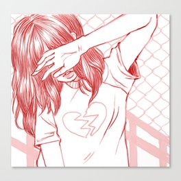 Girl with a broken heart Canvas Print