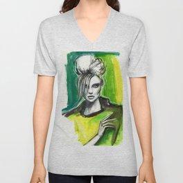 Watercolour fashion portrait Unisex V-Neck