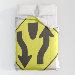"""""""Divided highway"""" - 3d illustration of yellow roadsign isolated on white background Comforters"""