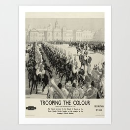 Trooping the Colour oude poster Art Print