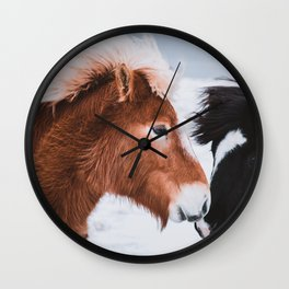 Icelandic Horses in Winter Landscape of Iceland Wall Clock