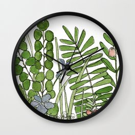 Watercolor Woodland Ferns and Violets Delicate Detailed Nature Art Wall Clock