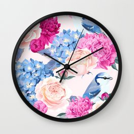 Magenta Periwinkle Pastel Rose With Blue Jays Wall Clock
