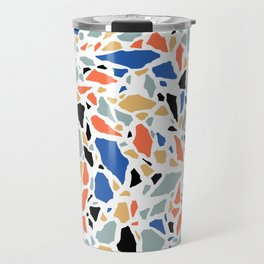 Terrazzo pattern in blue and salmon Travel Mug