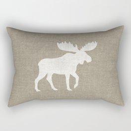 White Moose Silhouette Rectangular Pillow