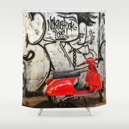 Red Vespa and graffitis Shower Curtain