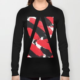 Modern Abstract Black Red Brush Strokes Pattern Long Sleeve T-shirt
