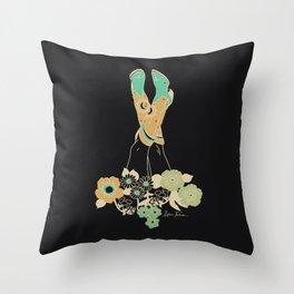 Love Stoned Cowboy Boots - Emerald, Cream, Black Throw Pillow