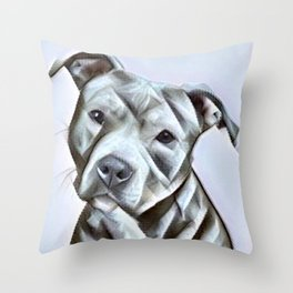 Pit Bull lover , portrait of a blue nose pit bull Throw Pillow