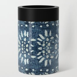 Vintage indigo inspired  flowers and lines Can Cooler