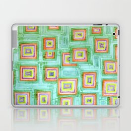 Multicolored Squares on Green Pattern  Laptop & iPad Skin
