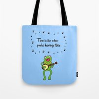 kermit Tote Bags featuring Kermit having fun by BlackBlizzard