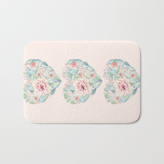Three Hearts Cactus Rose Bath Mat