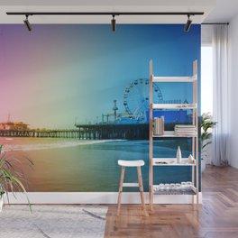 Santa Monica Pier Rainbow Colors Wall Mural