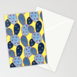 Denim Cactus Patchwork Quilt (Yellow) Stationery Cards