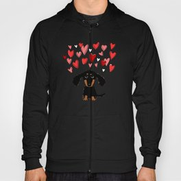 Cute Dachshund Puppy with Valentine Hearts Hoody