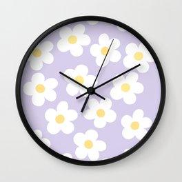 Lavender 70's Retro Flower Power Wall Clock