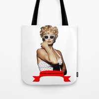 jessica lange Tote Bags featuring Carly Marshall- Jessica Lange by BeeJL