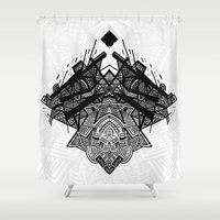 spaceship Shower Curtains featuring Spaceship by Hngeb