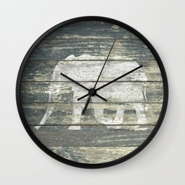 White Elephant Silhouette on Teal Wood A215C Wall Clock