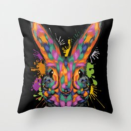 Bunny Face Color Splashes Throw Pillow