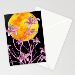 PINK ASIATIC STAR LILIES MOON FANTASY Stationery Cards
