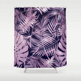 Tropical Palm Leaves Pattern: Heather Lilac-Pink Shower Curtain