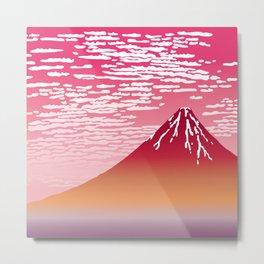 Hokusai Fuji at Sunset Metal Print