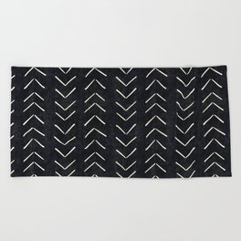 Mudcloth Big Arrows in Black and White Beach Towel