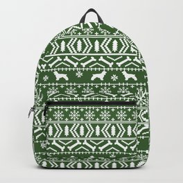 Cocker Spaniel fair isle christmas pattern dog breed holiday gifts green and white Backpack