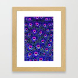 Peacock Feathers in Blue and Pink. Framed Art Print
