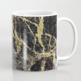 Marble - Glittery Gold Marble on Black Design Coffee Mug
