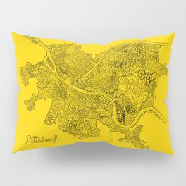 Pittsburgh Neighborhoods | Black and Gold Pillow Sham