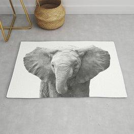 Black and White Baby Elephant Rug