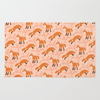 socks Area & Throw Rugs featuring Socks the Fox - Dawn by Patty Sloniger