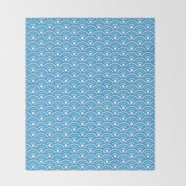 Blue Wave Japanese Kimono Pattern Throw Blanket