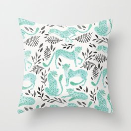 Cheetah Collection – Mint & Black Palette Throw Pillow