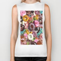 donuts Biker Tanks featuring Donuts by Tina Mooney