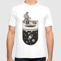 Winter Fishing White Mens Fitted Tee LARGE