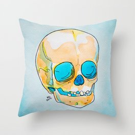 Orange and Blue Skull Watercolor and Ink Throw Pillow