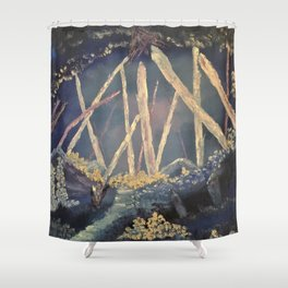 The Healing Crystal cave Shower Curtain