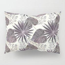 Gray tropical pattern on light beige background. Pillow Sham