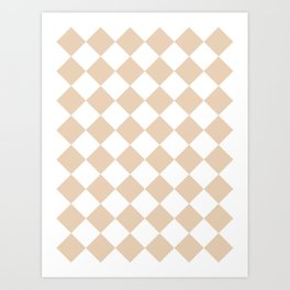 Large Diamonds - White and Pastel Brown Art Print