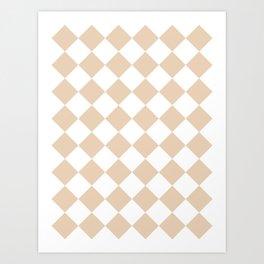 Large Diamonds - White and Pastel Brown Art Print