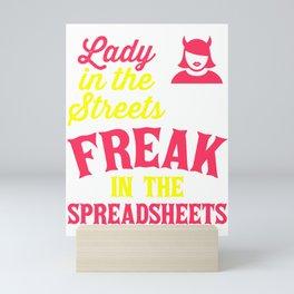 Lady in the Sheets, Freak In The Spreadsheets, Office Worker Women Mini Art Print
