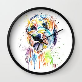 Goldendoodle, Golden Doodle Watercolor Pet Portrait Painting Wall Clock