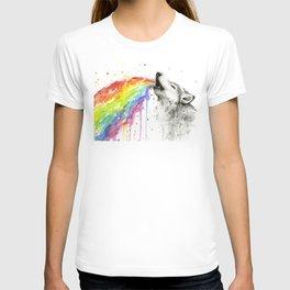 Wolf Rainbow Watercolor Animal T-shirt
